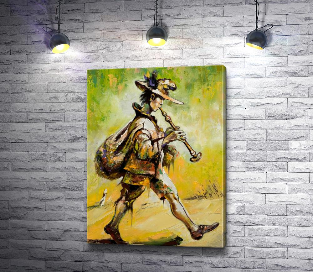 """Картина """"Блуждающий музыкант играет на трубе """""""
