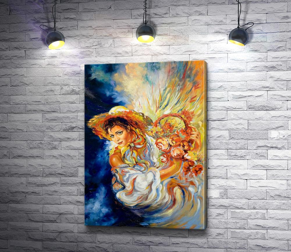 "Картина ""Девушка и цветы """