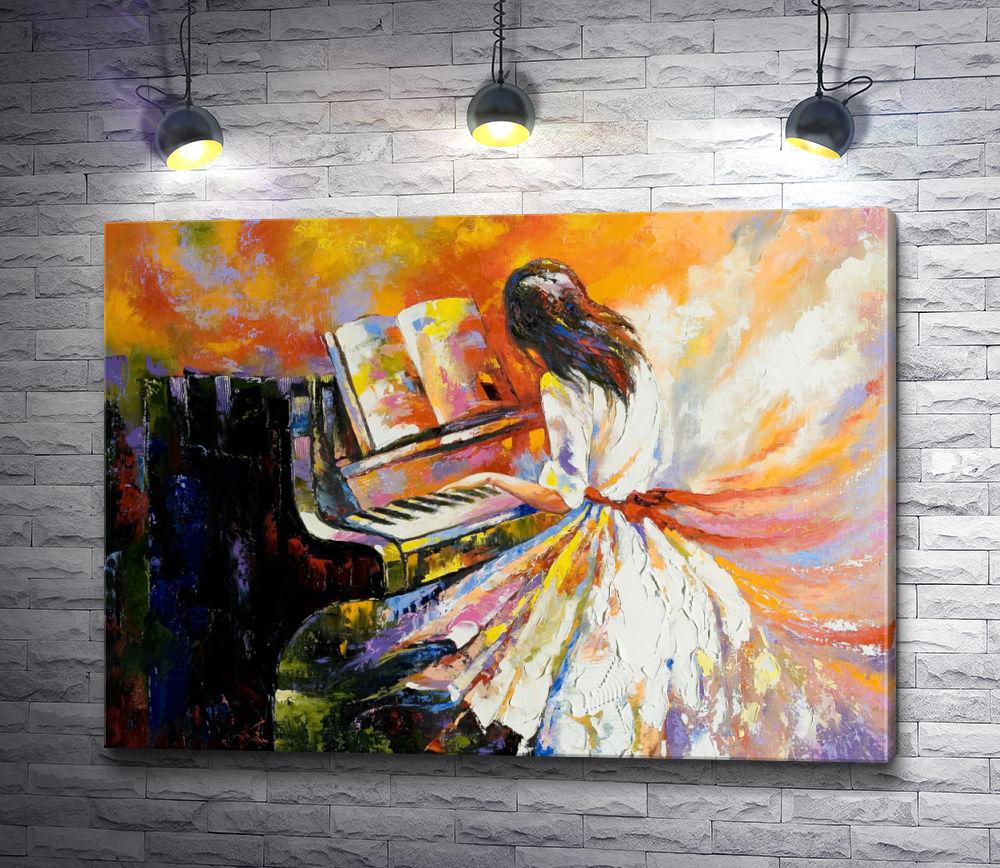 """Картина """"Девушка в платье играет на пианино """""""