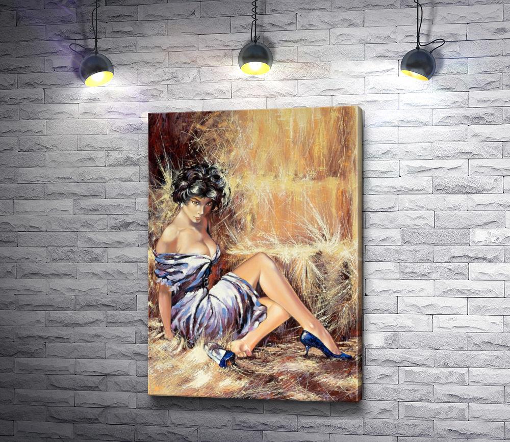 """Картина """"Девушка на сеновале """""""