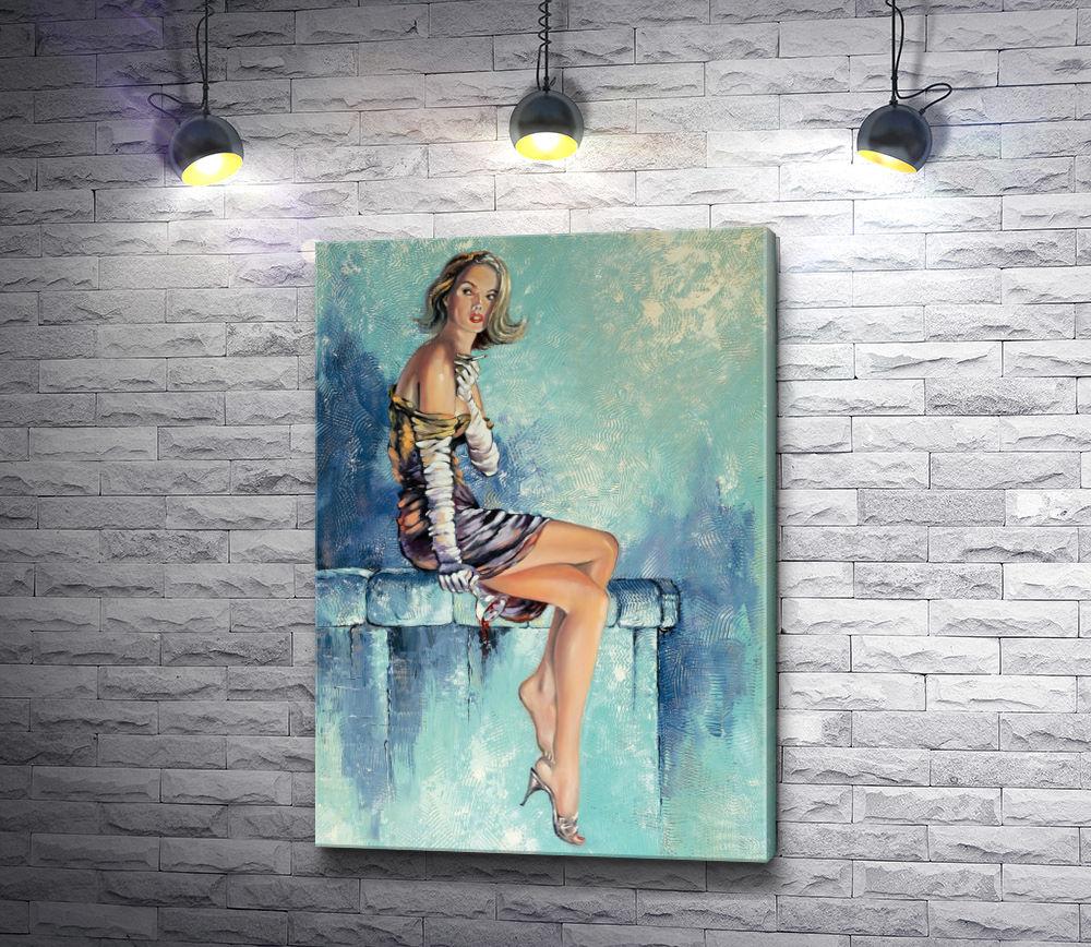 """Картина """"Девушка с бокалом вина и сигаретой """""""