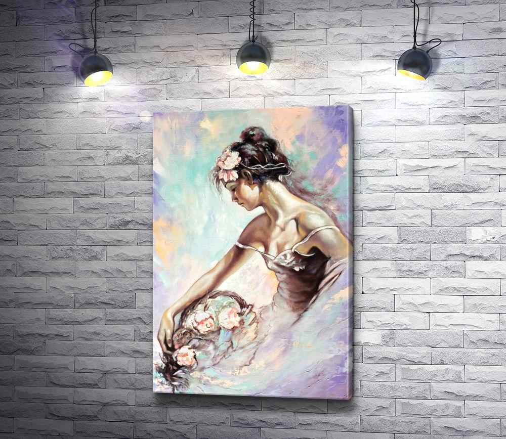 """Картина """"Девушка с корзиной цветов """""""