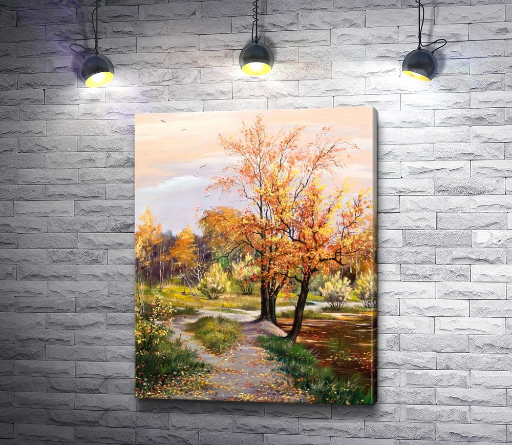 """Картина """"Деревья на окраине осеннего леса"""""""