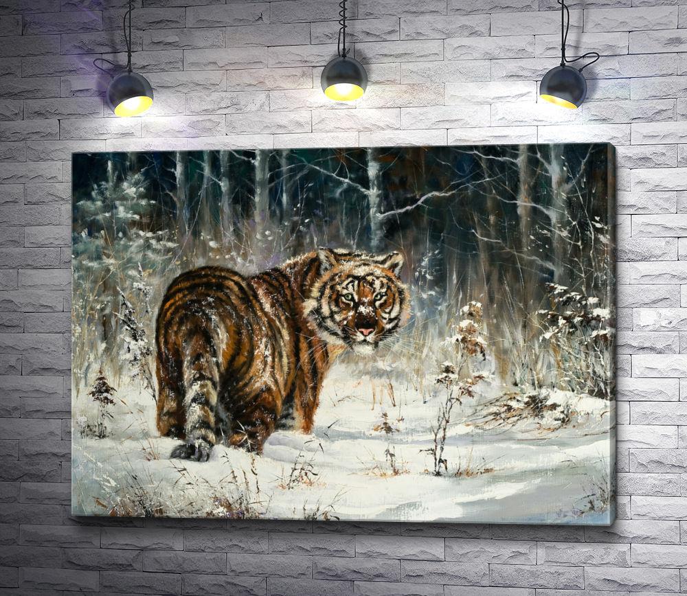 """Картина """"Прогулка тигра по зимнему лесу """""""