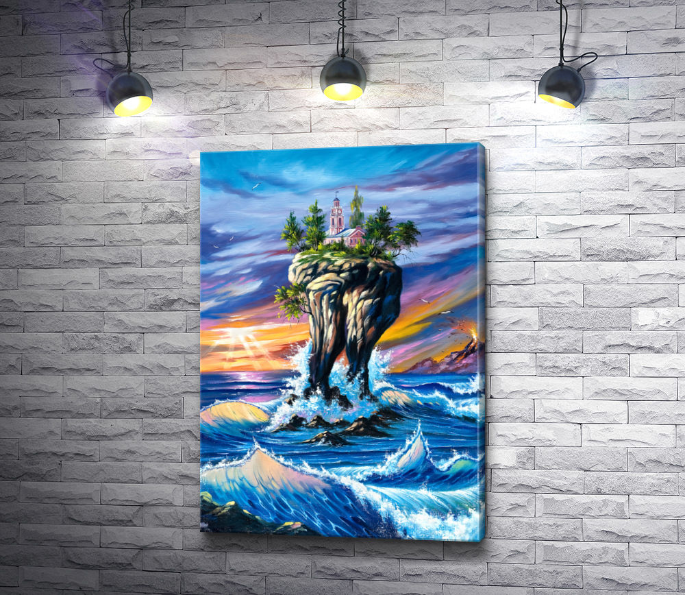 """Картина """"Остров с замком высоко над морем """""""