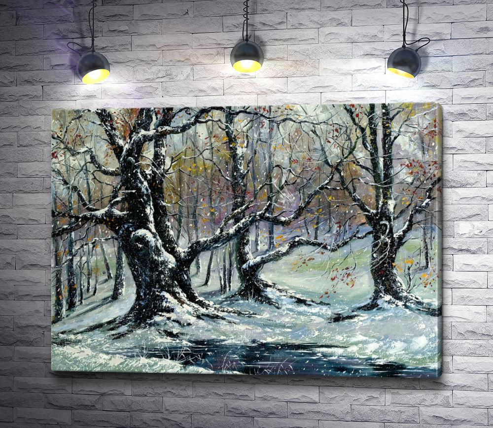 """Картина """"Зимние деревья в снегу"""""""
