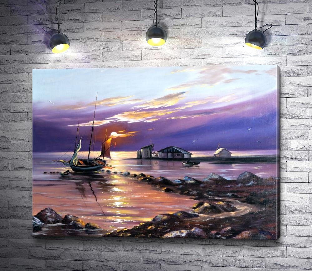 """Картина """"Домик рыбака и лодка в море """""""