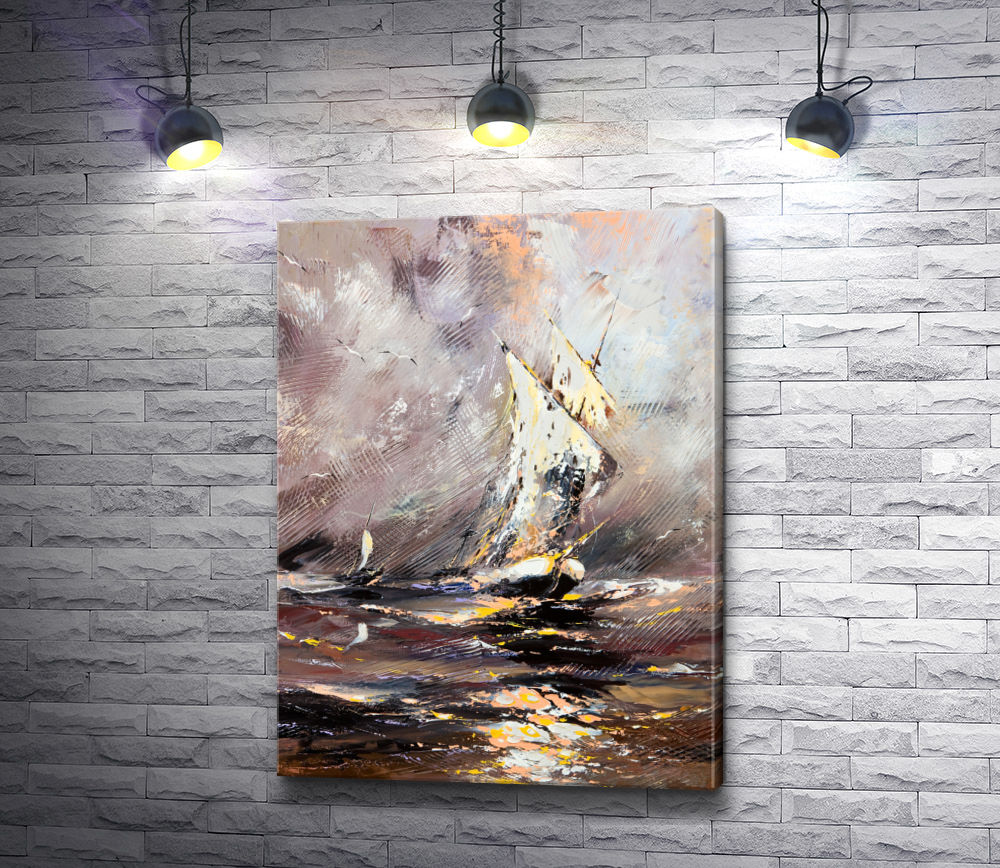"Картина ""Парусное судно во время шторма"""