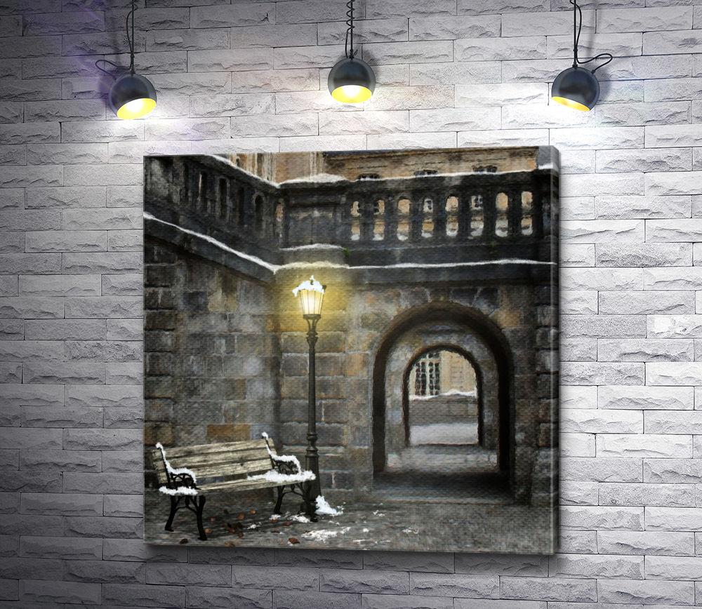 """Картина """"Фонарь в сумерках зимнего вечера"""""""