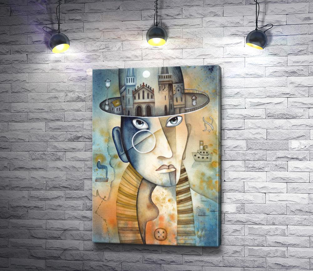 """Картина """"Портрет горожанина в шляпе и пенсне"""""""