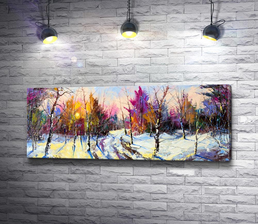 """Картина """"Блики солнца в зимнем лесу"""""""