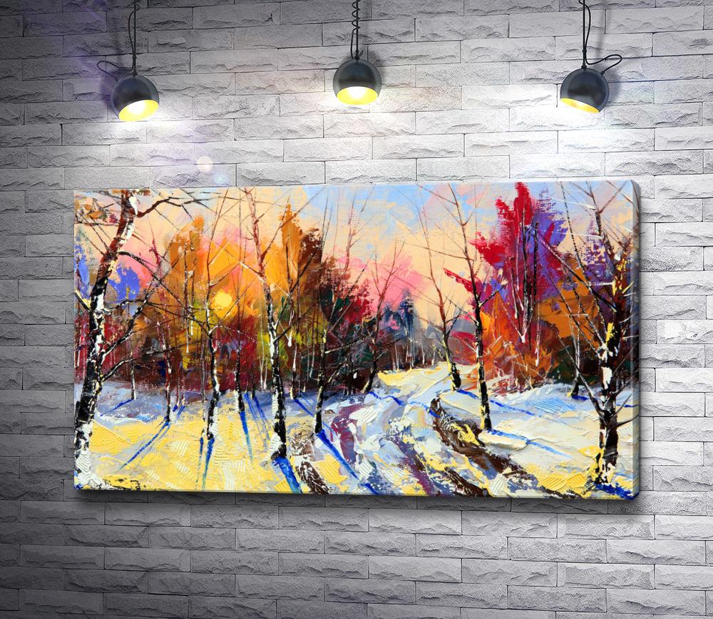 """Картина """"Солнечный день в зимнем лесу"""""""