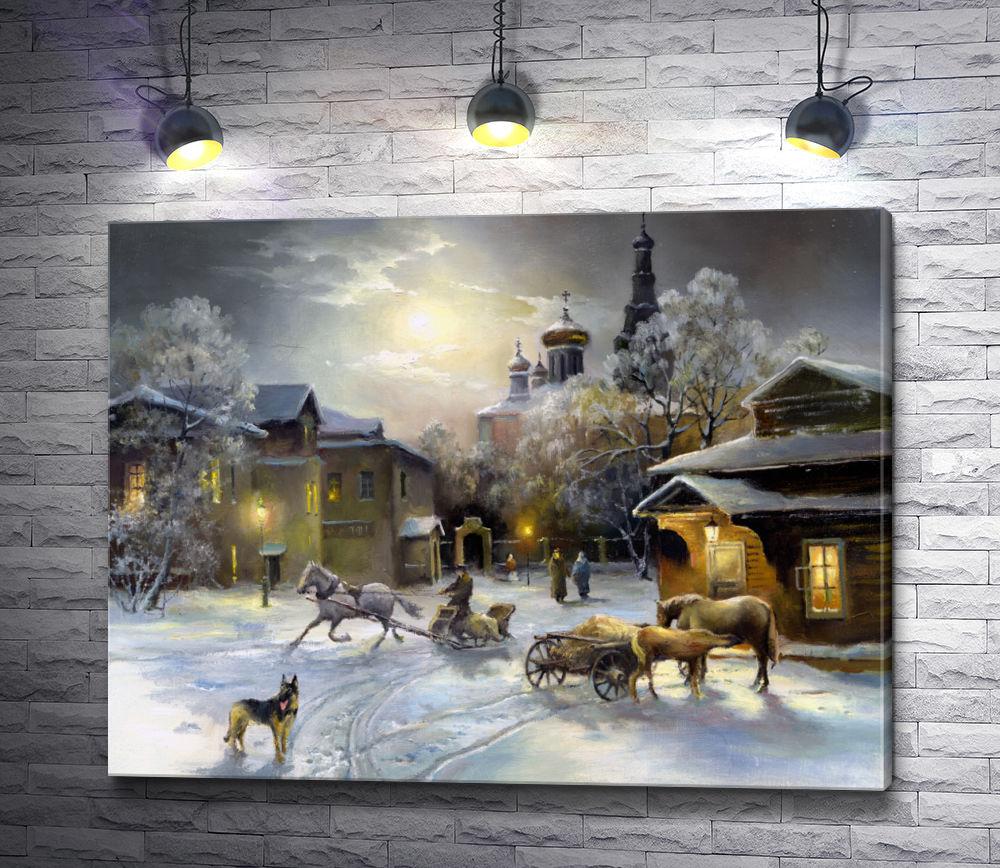 """Картина """"Зимний пейзаж в сумерках"""""""