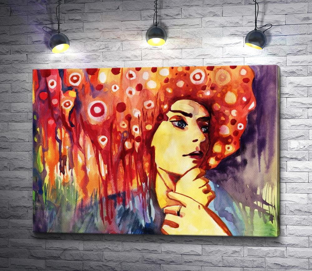 """Картина """"Задумивая женщина с красными волосами"""""""