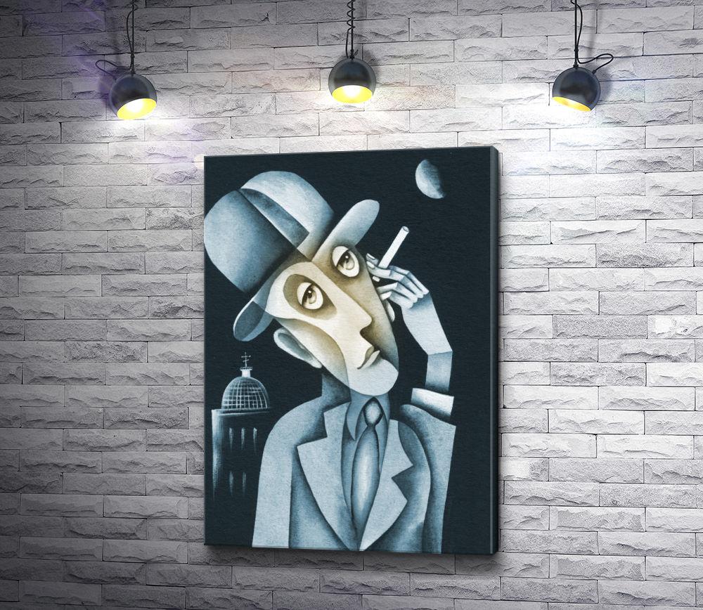 """Картина """"Задумчивый мужчина с сигаретой"""""""