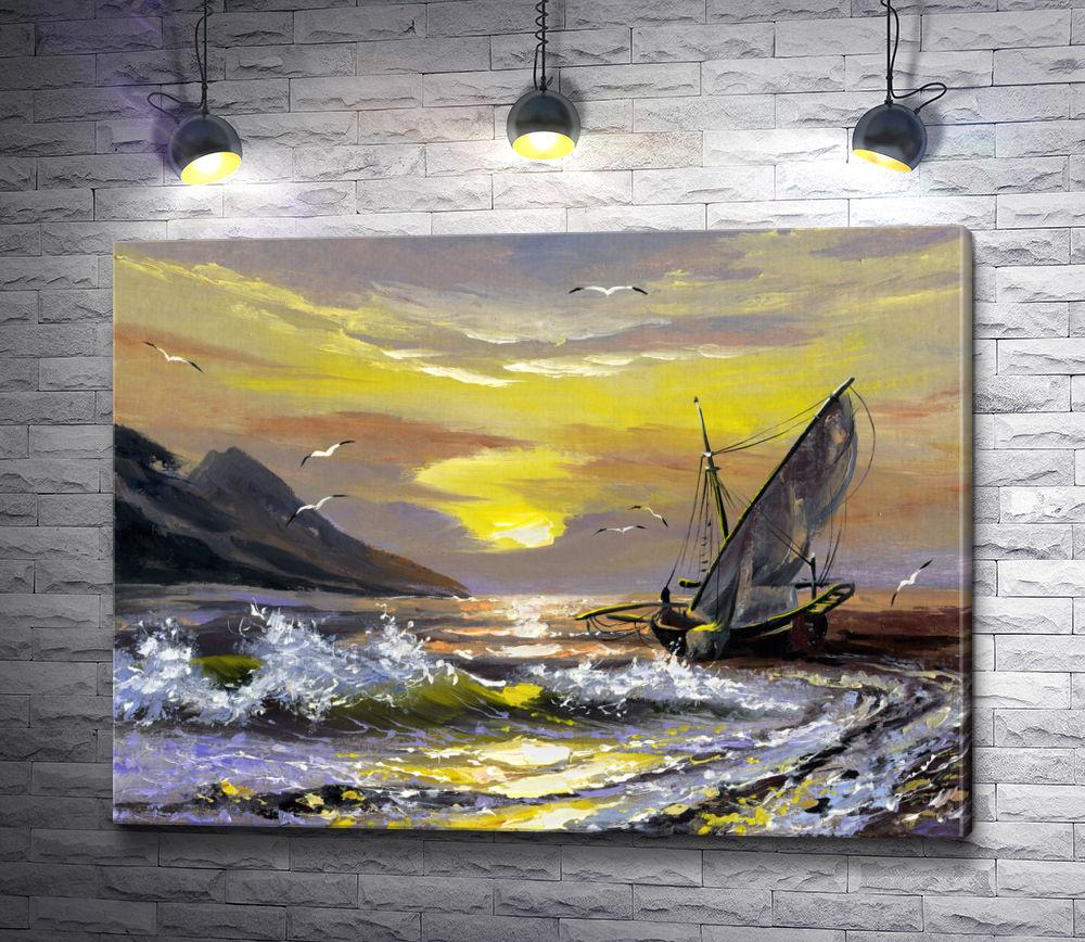 """Картина """"Парусник, уходящий в море и чайки"""""""