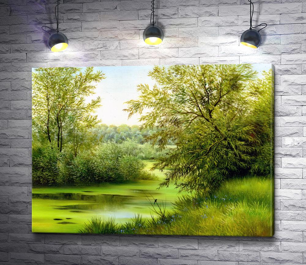 """Картина """"Река и деревья в солнечный день"""""""