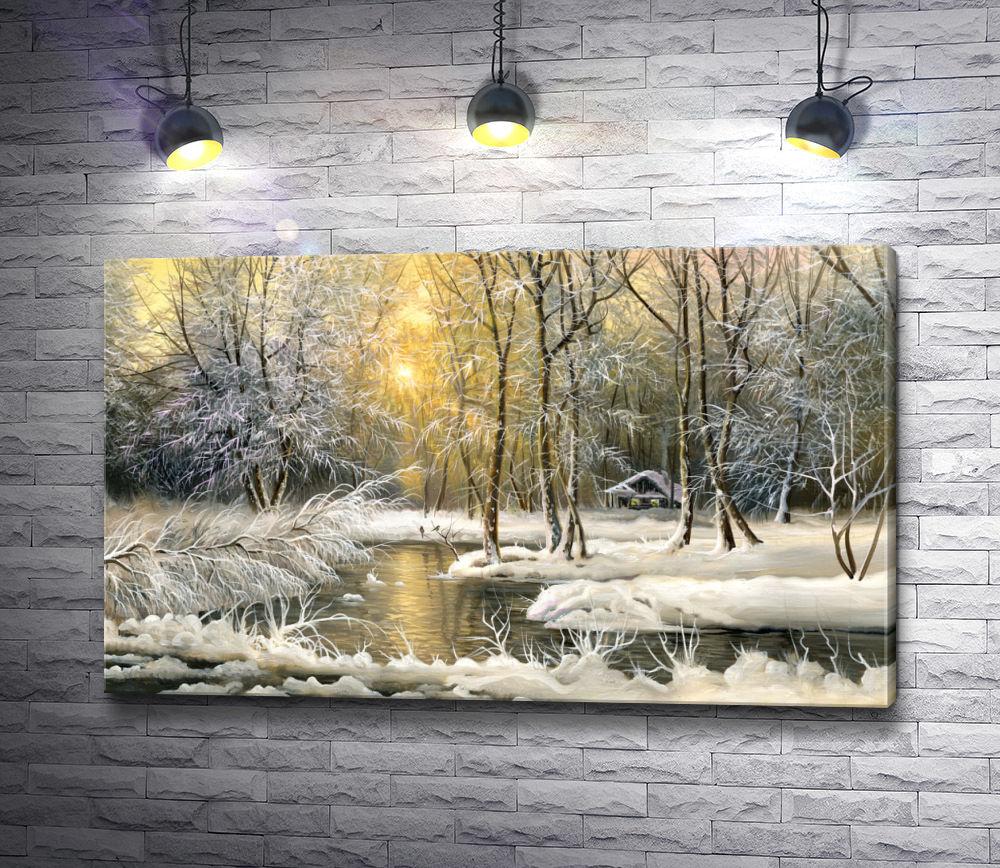 """Картина """"Заснеженные деревья зимой у реки"""""""