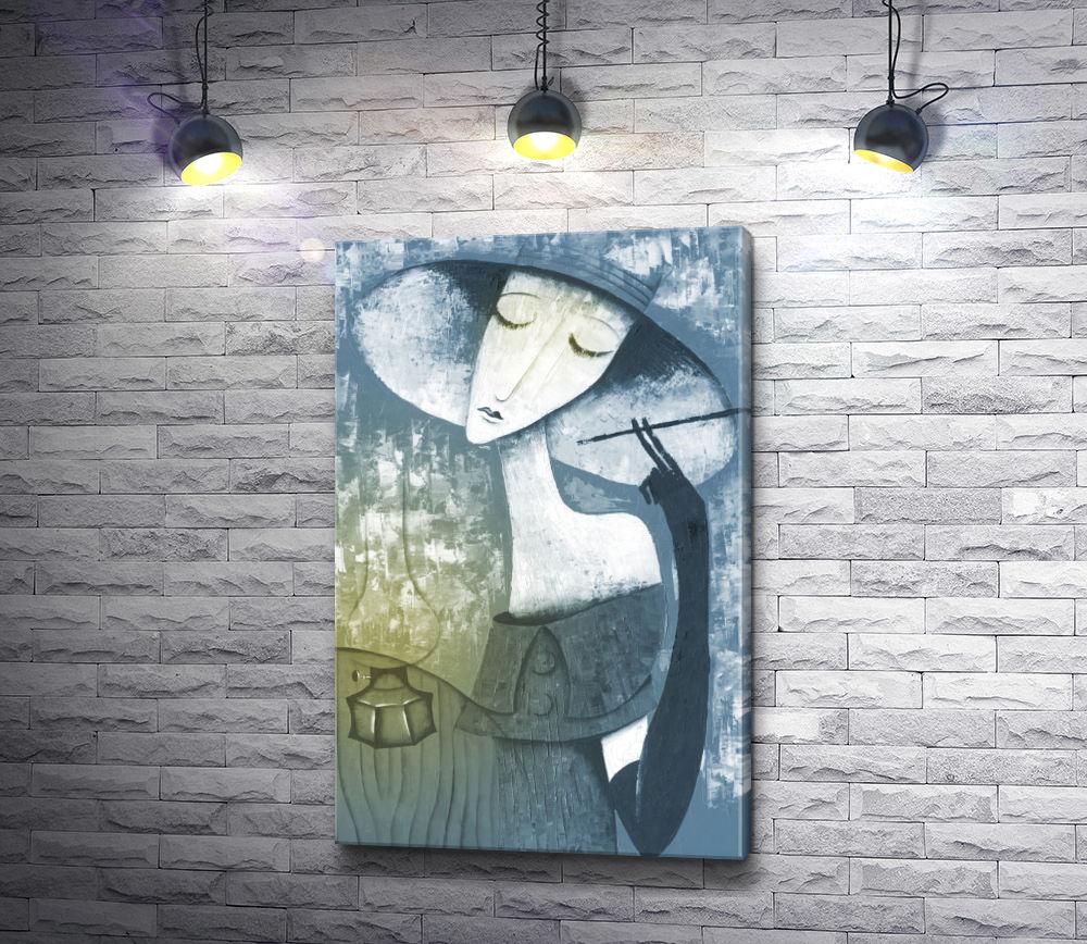 """Картина """"Портрет женщины в шляпе и с мундштуком"""""""