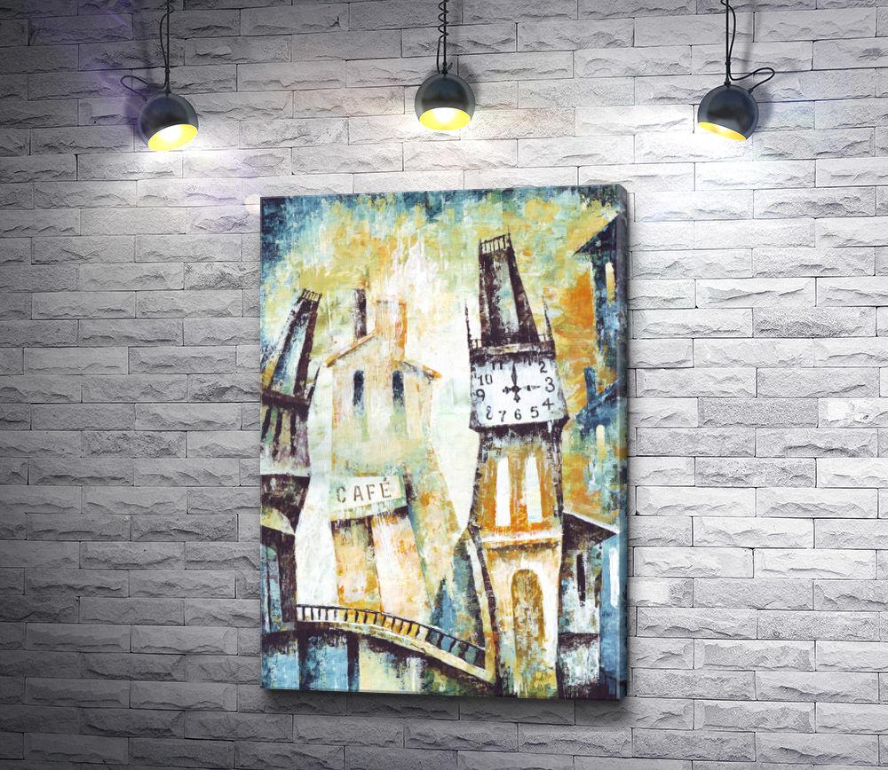 """Картина """"Старая башня с городскими часами"""""""