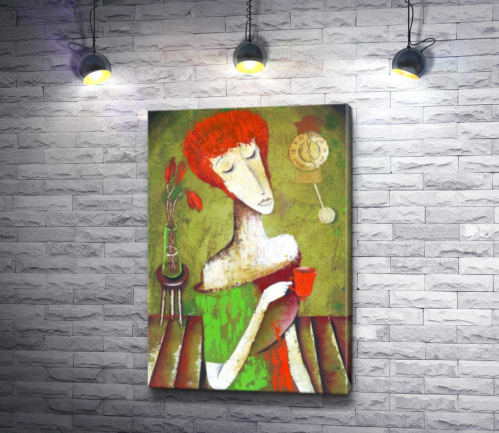 """Картина """"Женщина с чашкой чая"""""""