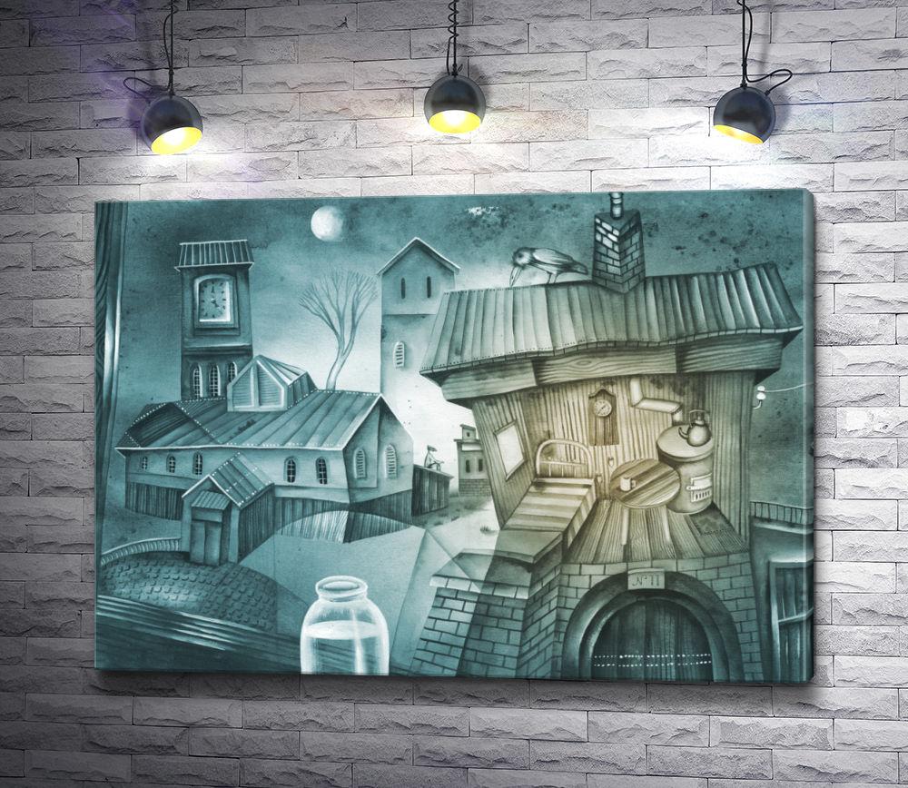 """Картина """"В деревне ночью"""""""