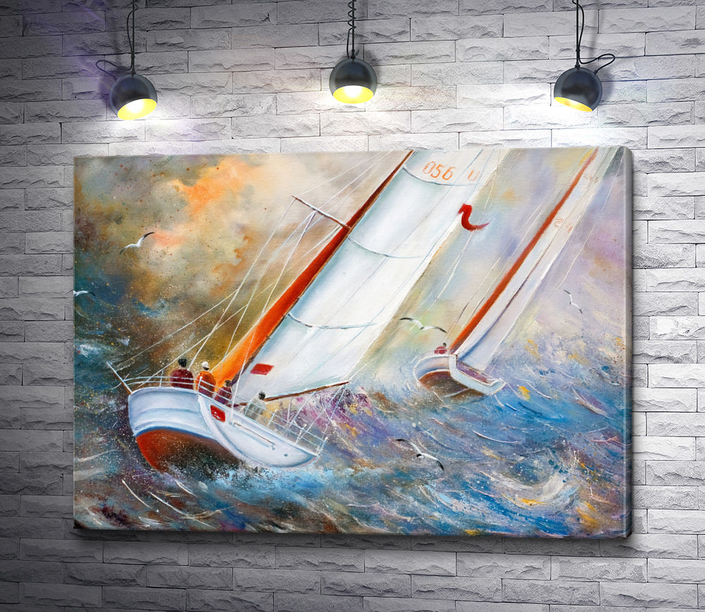 """Картина """"Две яхты в шторм на море"""""""