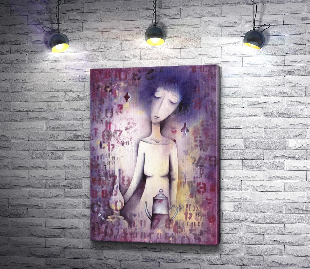 """Картина """"Дама с лампой и кофейником"""""""