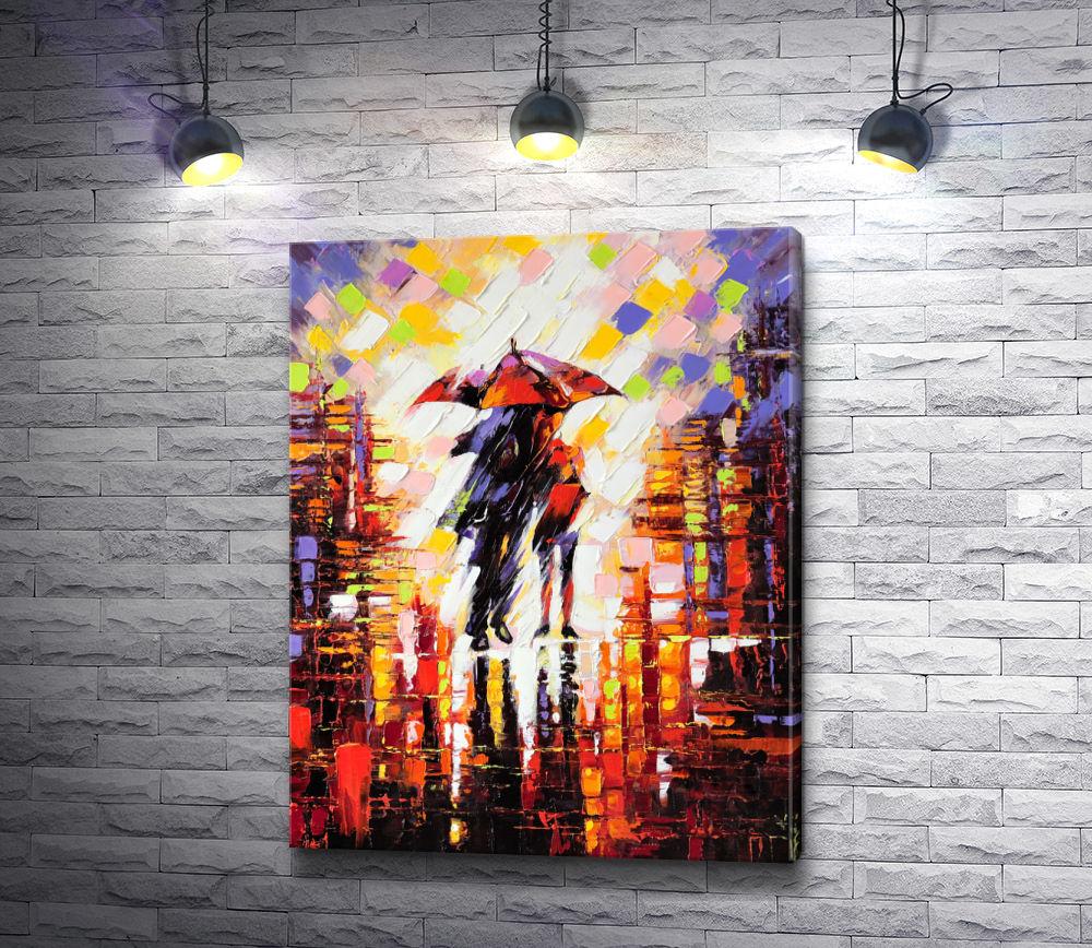 """Картина """"Двое влюбленных под зонтом"""""""