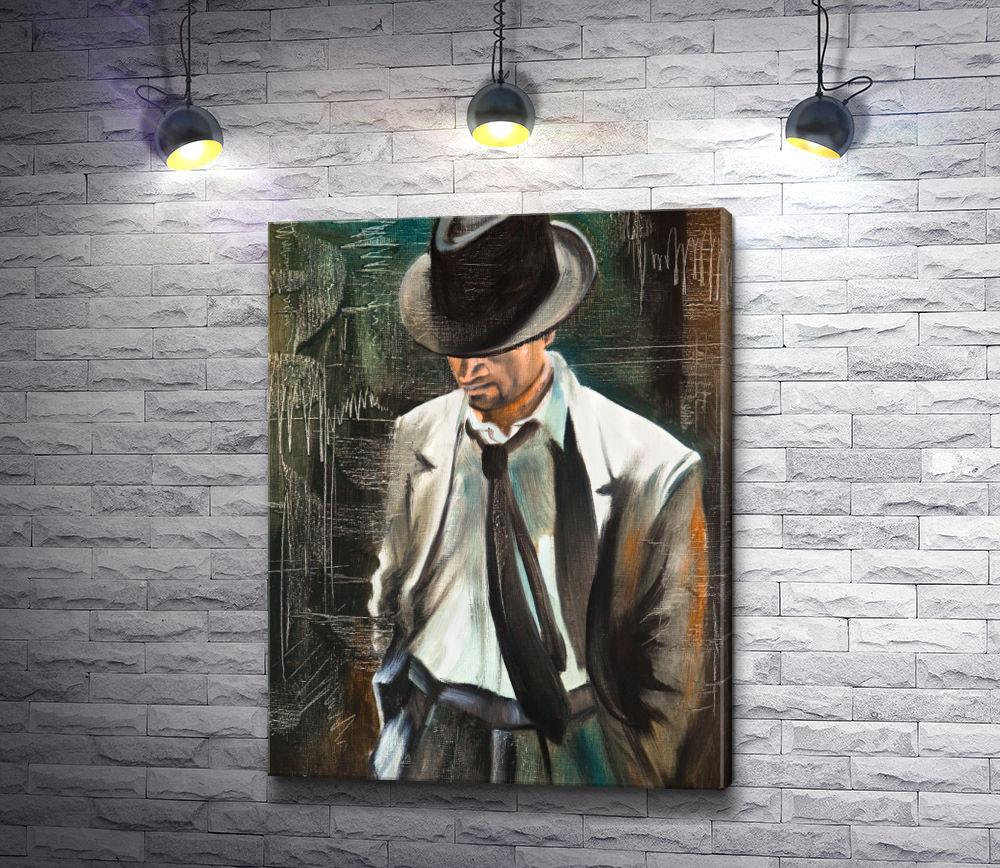 """Картина """"Мужчина в костюме, шляпе и с сигаретой"""""""