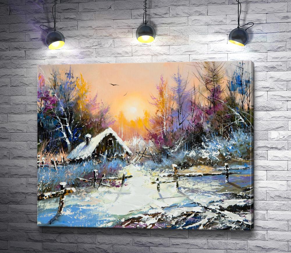 """Картина """"Деревянный домик на опушке зимнего леса"""""""