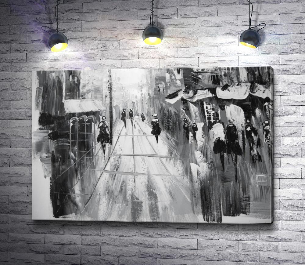 "Картина ""Прогулка по городу. Черно-белая картина"""