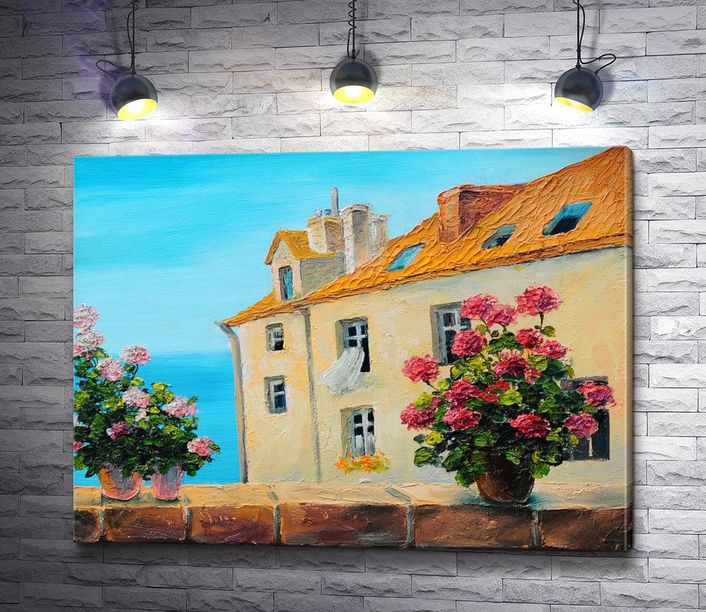 """Картина """"Вид с балкона на соседний дом и море"""""""
