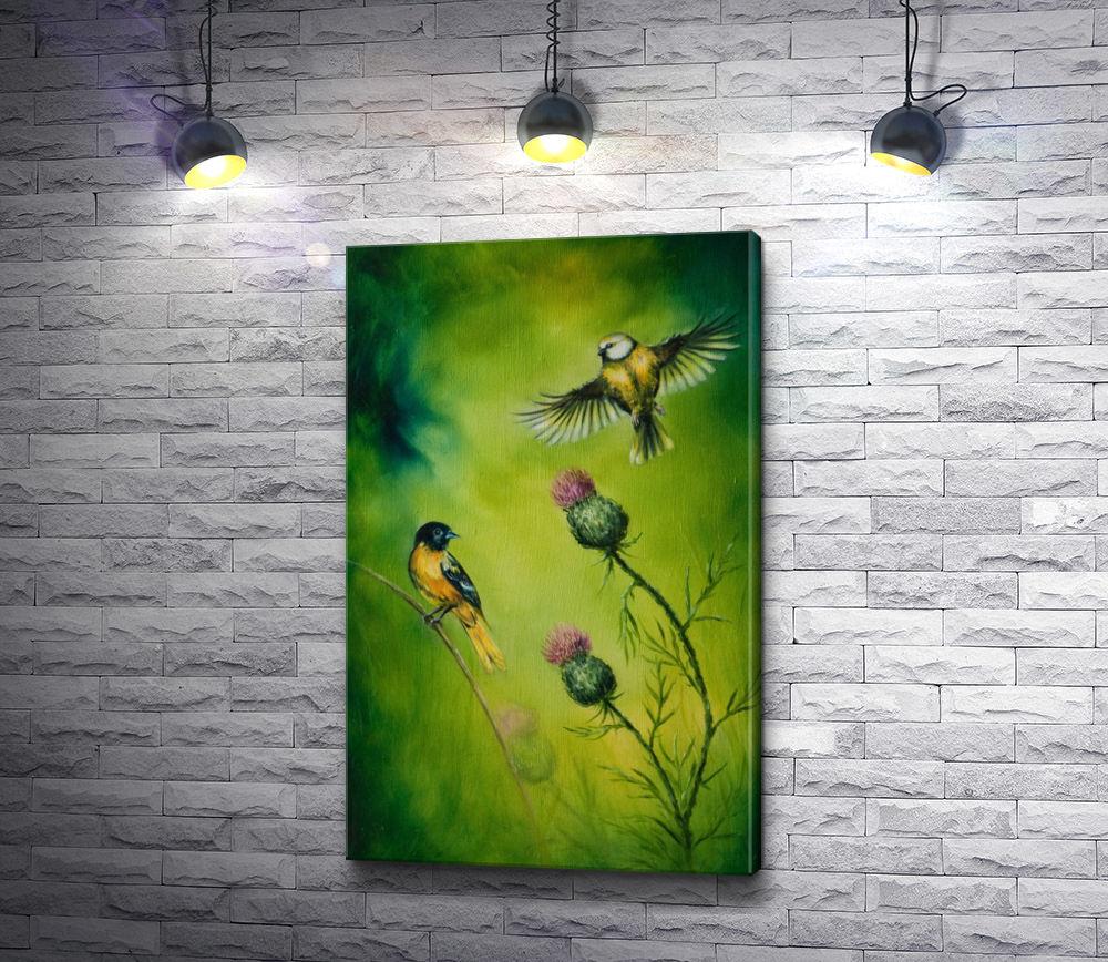 """Картина """"Желтогрудые птички и цветы чертополоха"""""""