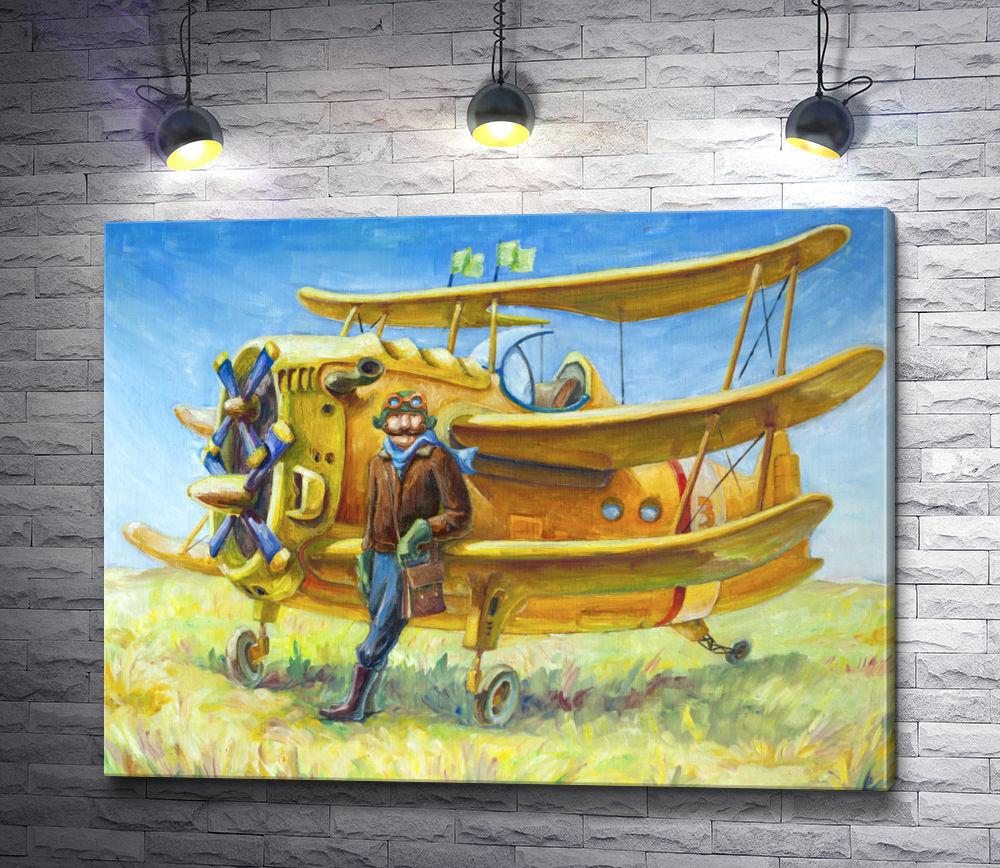 """Картина """"Авиатор и военный самолет"""""""