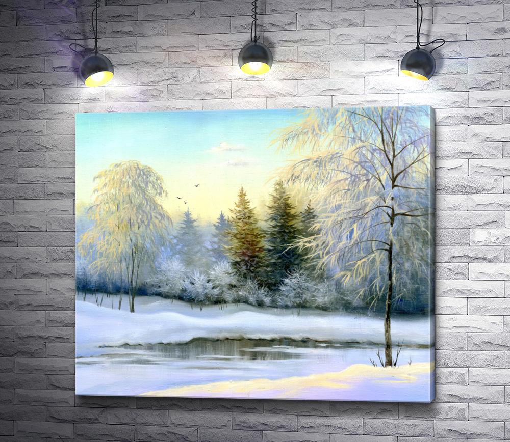 """Картина """"Зимний лес в солнечный день"""""""