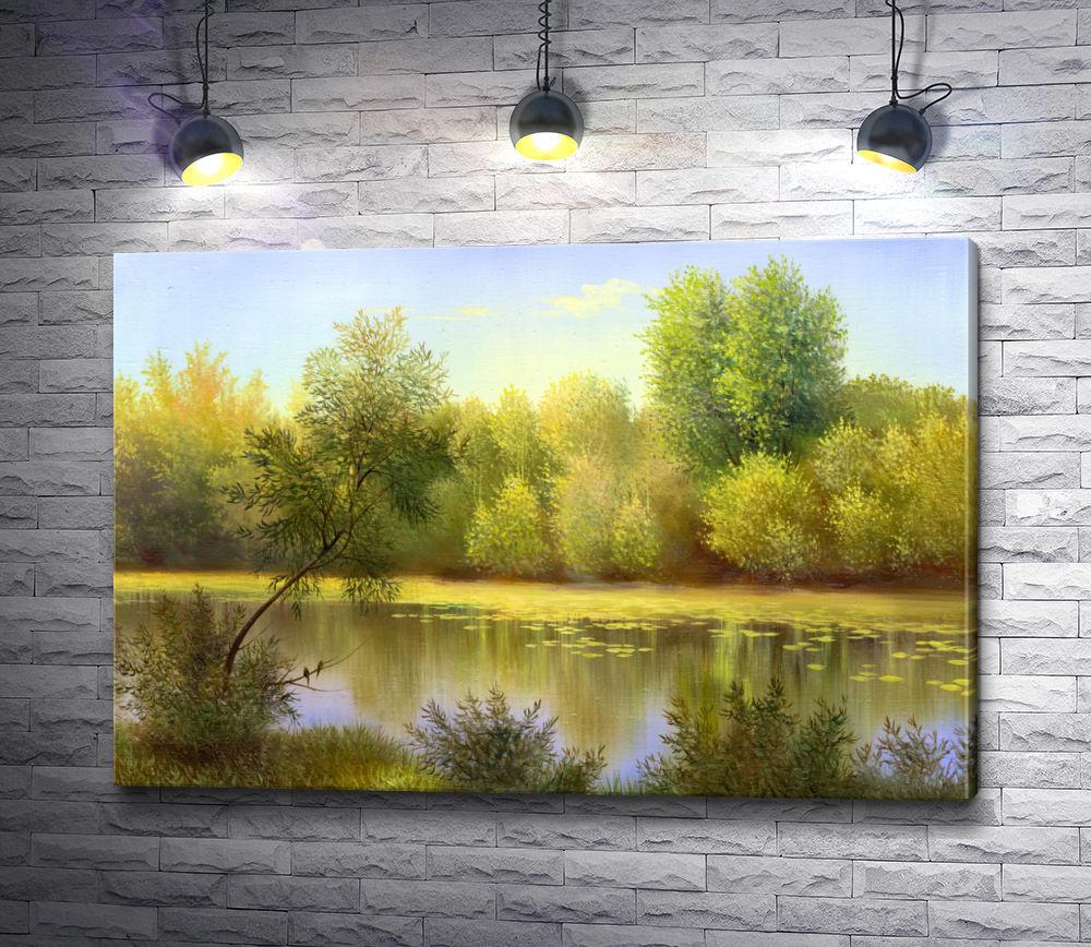 """Картина """"Осенние деревья на берегу озера"""""""