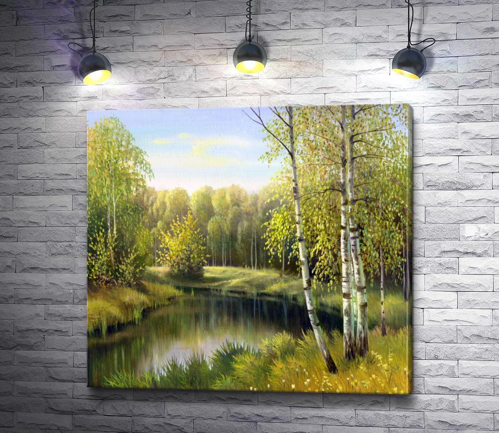"Картина ""Лес с березками на берегу реки. Россия"""