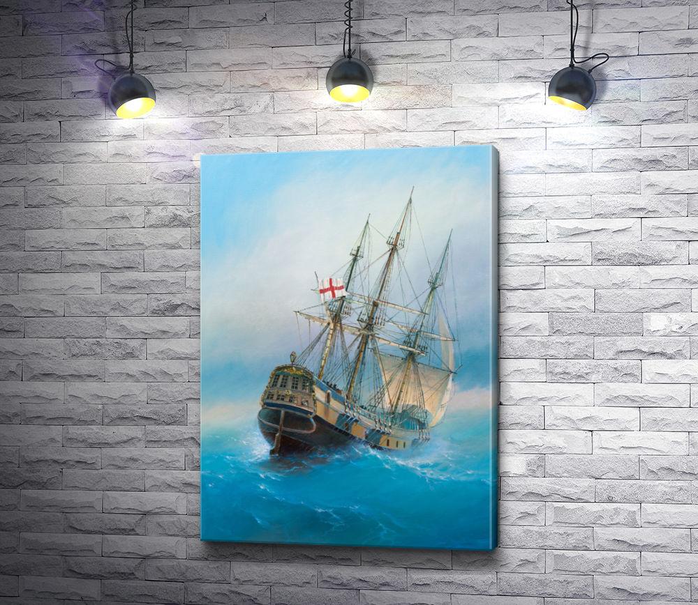 "Картина ""Парусник с флагом Англии в открытом море"""