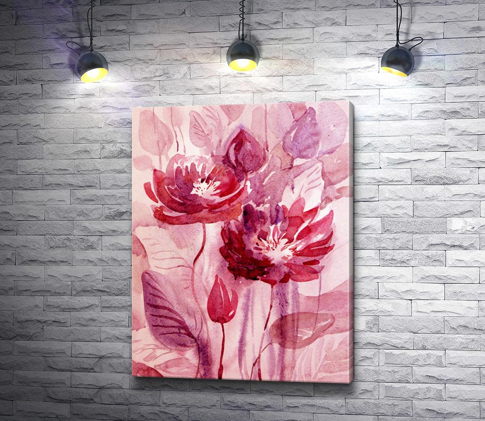 "Картина ""Два розовых цветка"""