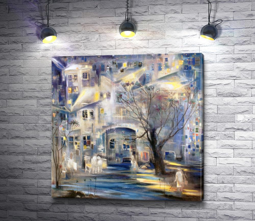"""Картина """"Городской дворик поздней осенью"""""""