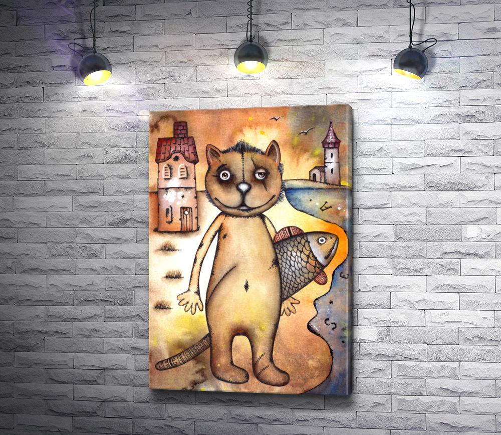 """Картина """"Довольный кот с рыбой"""""""