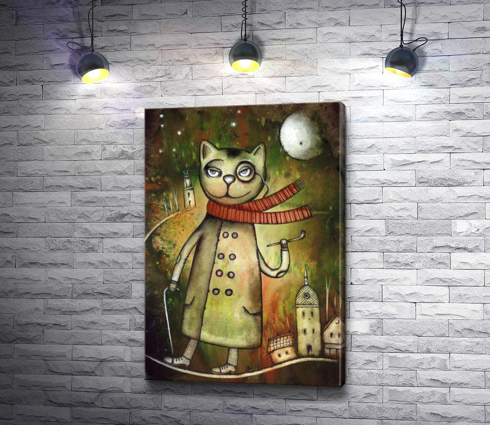 """Картина """"Кот в пальто с красным шарфом и тростью"""""""