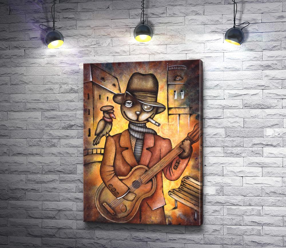 """Картина """"Кот с гитарой и птицей на плече"""""""