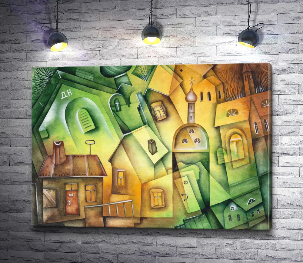 """Картина """"Церковь на фоне старых домов"""""""