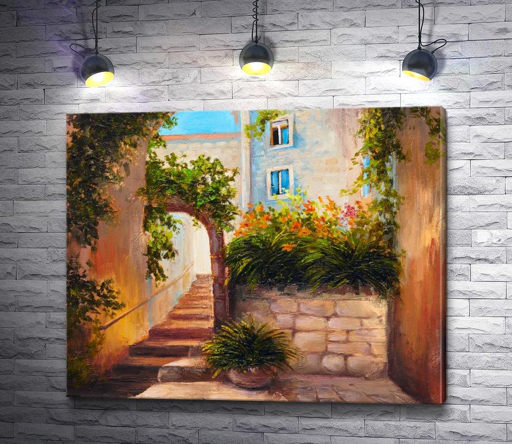 """Картина """"Арка, увитая плющом и лестница"""""""