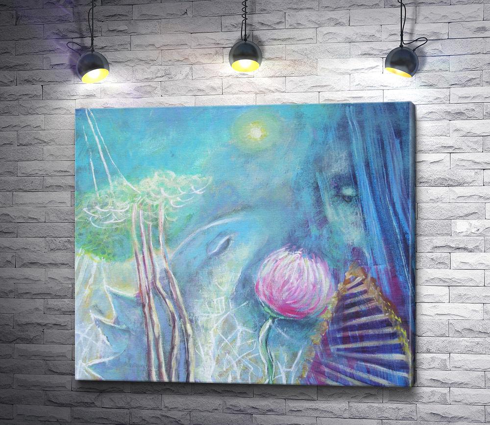 """Картина """"Ландшафт с лестницей и девушка"""""""