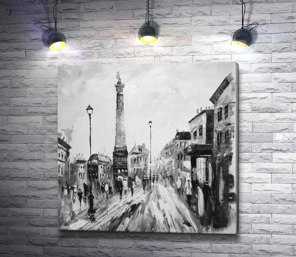 """Картина """"Прогулка по улице старого города. Черно-белая гамма"""""""