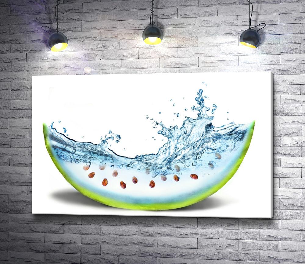 "Картина ""Креативный арбуз с брызгами воды"""