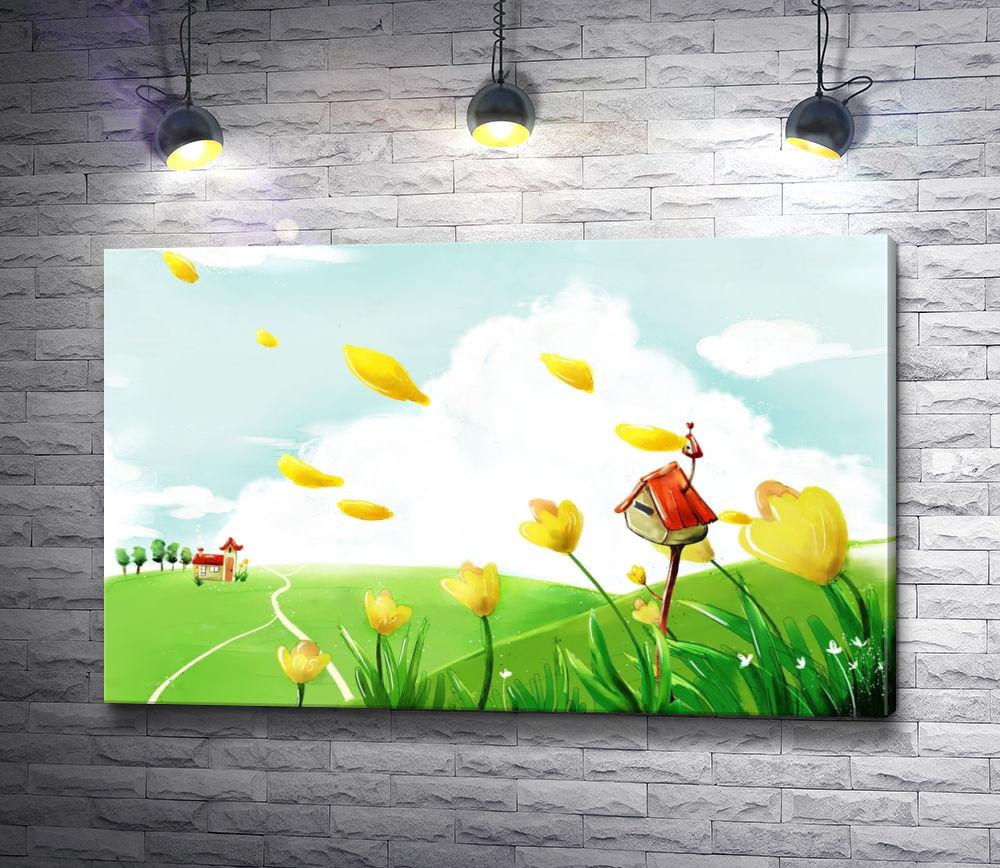 "Картина ""Домики на лугу и летящие лепестки цветов"""